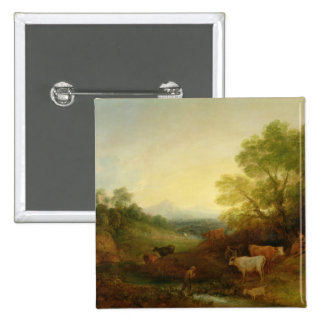 A Landscape with Cattle and Figures by a Stream an 2 Inch Square Button