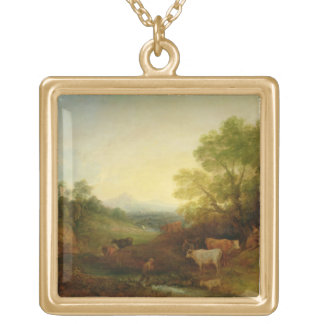 A Landscape with Cattle and Figures by a Stream an Gold Plated Necklace