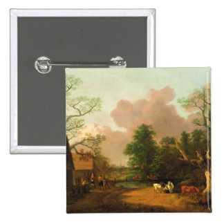 A Landscape with Figures, Farm Buildings and a Mil 2 Inch Square Button
