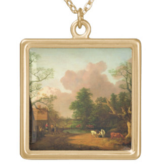 A Landscape with Figures, Farm Buildings and a Mil Gold Plated Necklace