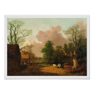 A Landscape with Figures, Farm Buildings and a Mil Poster