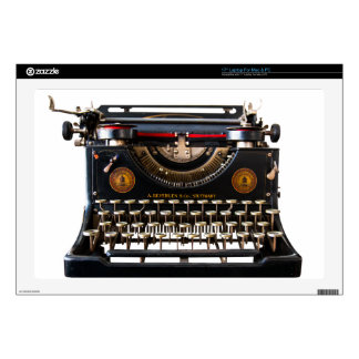 "A laptop/Mac skin with typewriter image Decals For 17"" Laptops"