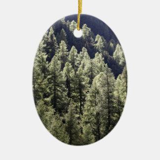 A larch forest in autumn ceramic ornament