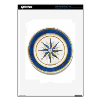 A large blue and yellow earthenware dish of eight iPad 2 decals