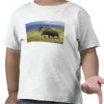 A large bull moose stands among willows t-shirts