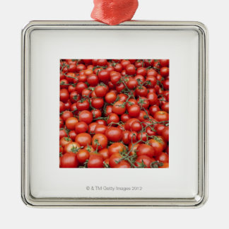 A large crop of tomato on a market stall in square metal christmas ornament