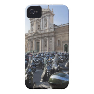 a large number of motor scooters parked near a iPhone 4 cover