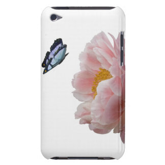 a large pink peony is visited by a ethereal iPod touch cover
