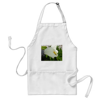 A Large Single White Calla Lily Flower Adult Apron