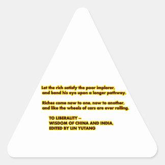 A las palabras del amarillo Red2 de la LIBERALIDAD Pegatina Triangular