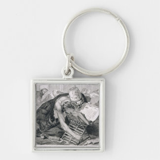 A Learned Man Absorbed in the Koran Silver-Colored Square Keychain