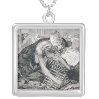 A Learned Man Absorbed in the Koran Square Pendant Necklace