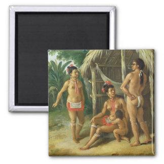 A Leeward Islands Carib Family outside a Hut, c.17 Magnet