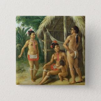 A Leeward Islands Carib Family outside a Hut, c.17 Pinback Button