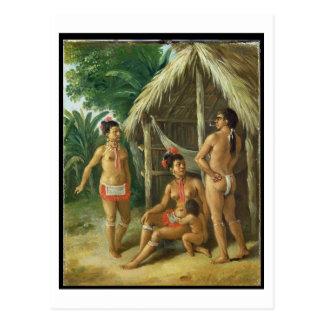 A Leeward Islands Carib Family outside a Hut, c.17 Postcard