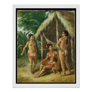 A Leeward Islands Carib Family outside a Hut, c.17 Poster