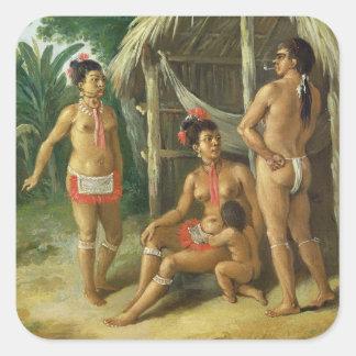 A Leeward Islands Carib Family outside a Hut, c.17 Square Sticker