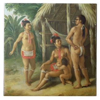A Leeward Islands Carib Family outside a Hut, c.17 Tile