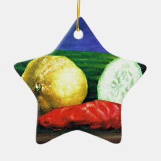 A Lemon and a Cucumber Ceramic Ornament