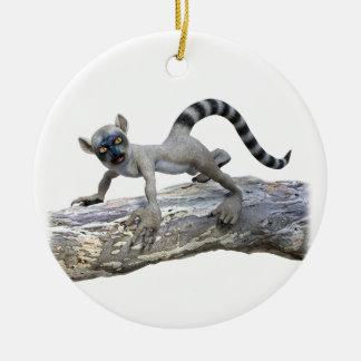 A Lemur on a Tree Ceramic Ornament