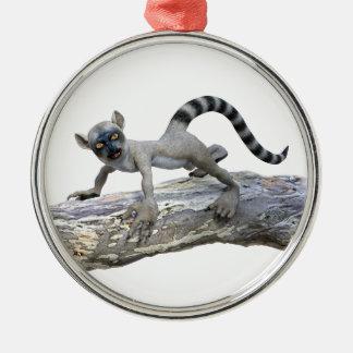 A Lemur on a Tree Metal Ornament