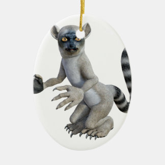 A Lemur Standing and Looking Ceramic Ornament