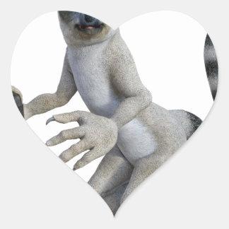 A Lemur Standing and Looking Heart Sticker