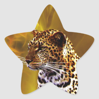 A leopard Stance Star Sticker