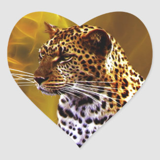 A leopard Stance Heart Sticker