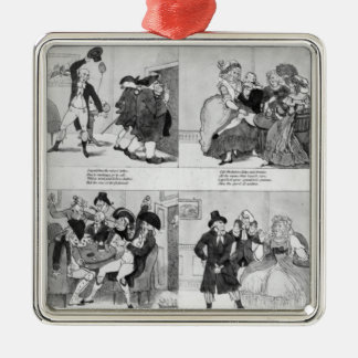 A Lesson for Spendthrifts by Dr. Johnson, 1794 Square Metal Christmas Ornament