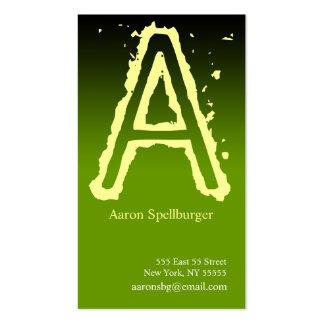 A Letter Alphabet Business Card Green Yellow