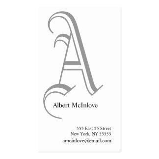 A Letter Alphabet Business Card Grey