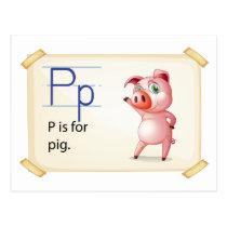A letter P for pig Postcard