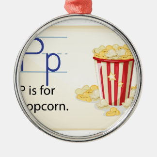 A letter P for popcorn Metal Ornament