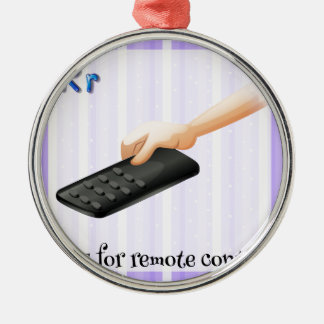 A letter R for remote control Round Metal Christmas Ornament