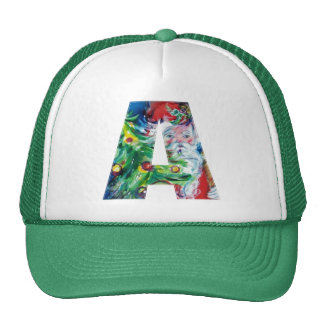A LETTER / SANTA WITH CHRISTMAS TREE MONOGRAM TRUCKER HAT