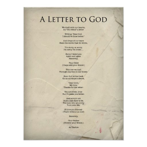 A Letter To God Religious Poem Poster Large Poster