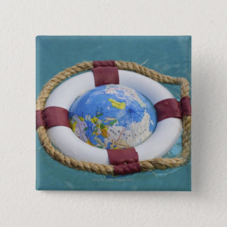 A life preserver and world globe floating button