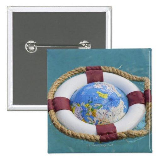 A life preserver and world globe floating buttons