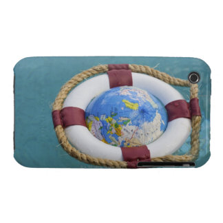 A life preserver and world globe floating iPhone 3 case