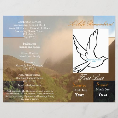 A Life Remembered Funeral Program_single fold