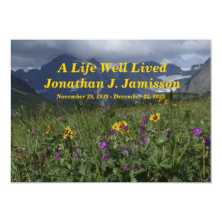 """A Life Well Lived Service Invitation, Wildflowers 5"""" X 7"""" Invitation Card"""