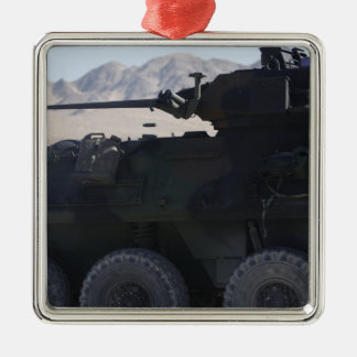 A light armored vehicle fires metal ornament