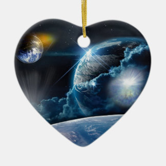 A Light Being's Journey Double-Sided Heart Ceramic Christmas Ornament