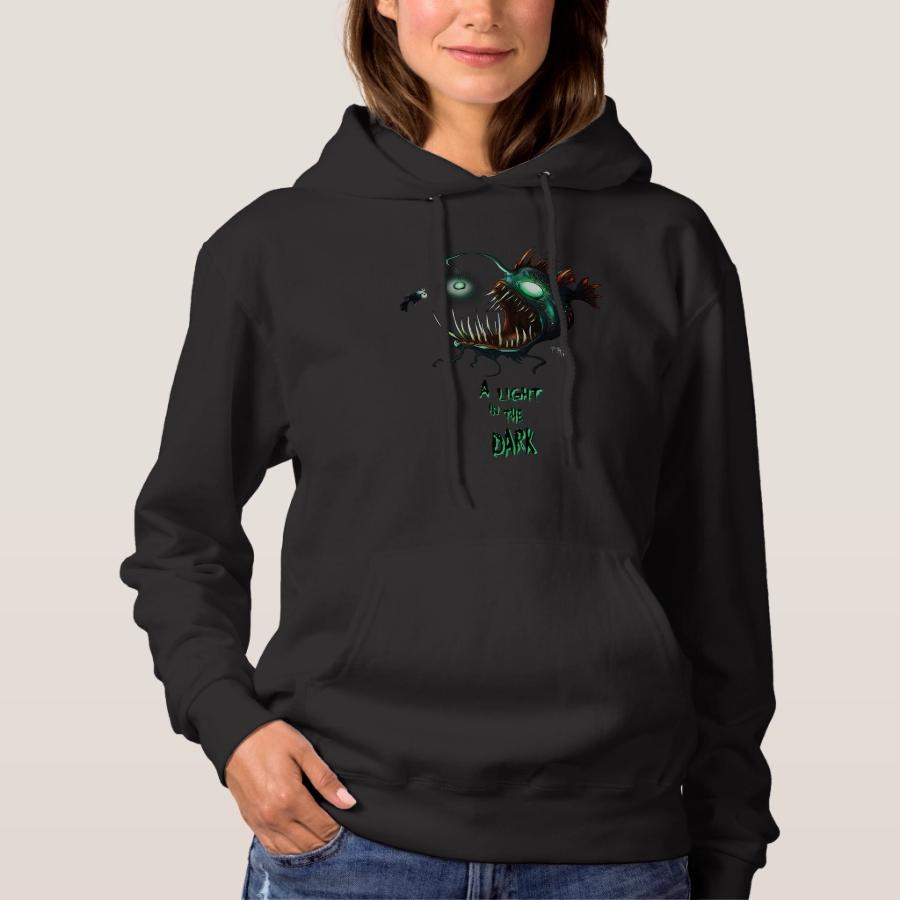 A light in the dark angler fish hoodie - Creative Long-Sleeve Fashion Shirt Designs