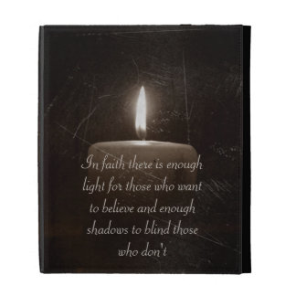 A Light in the Darkness - Candle Photo with Saying iPad Folio Cases