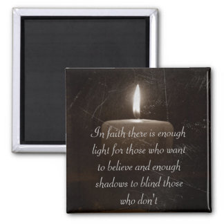 A Light in The Darkness - Candle with Faith Saying 2 Inch Square Magnet