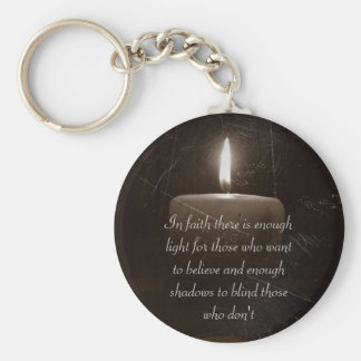 A Light in The Darkness - Candle with Faith Saying Keychain
