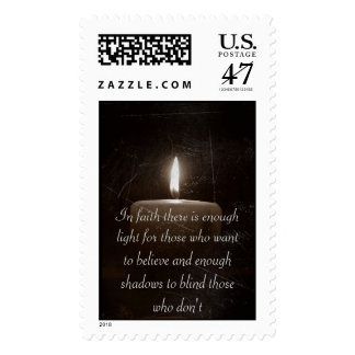 A Light in The Darkness - Candle with Faith Saying Postage