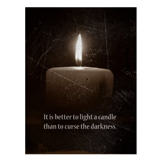 A Light in the Darkness - Candle with Proverb Postcard